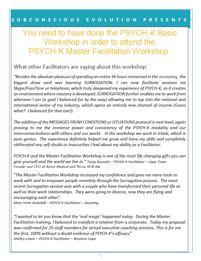 MASTER FACILITATION JHB Workshop 28-30 June 2019
